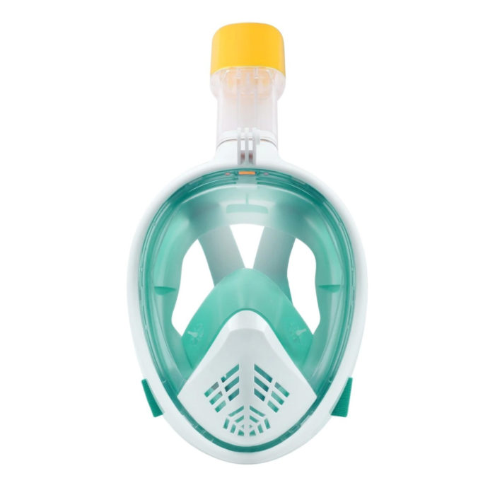 green full face snorkel mask from the front