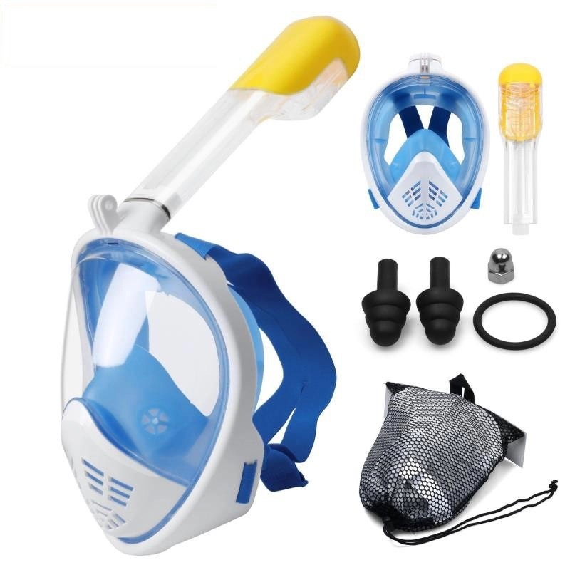 Blue full-face snorkel mask with accessories