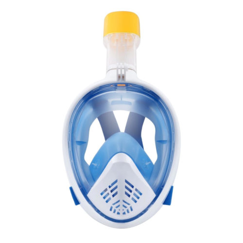 Blue and white full-face snorkel mask from the front
