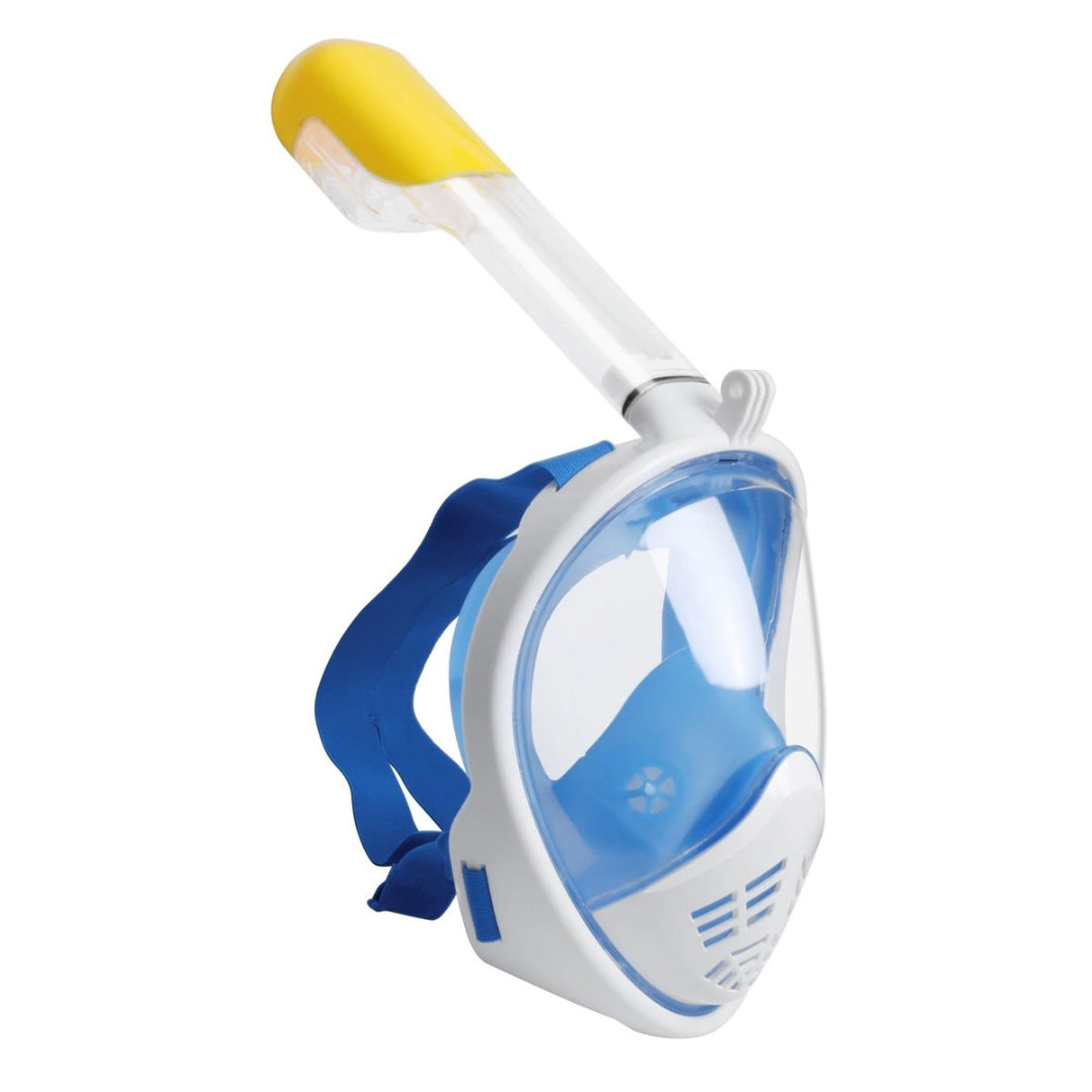 Blue and white full-face snorkel mask from the side