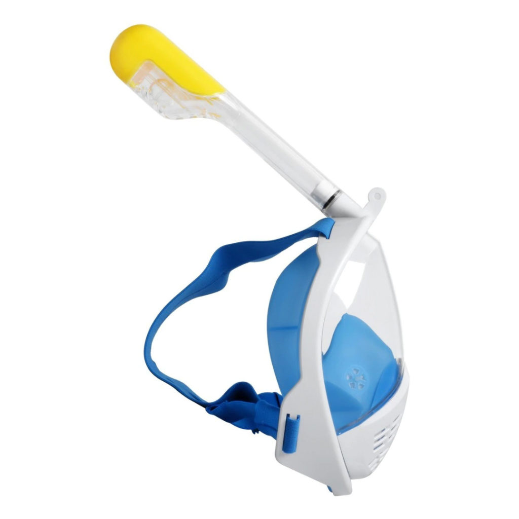 Blue and white full-face snorkel mask from the side with straps