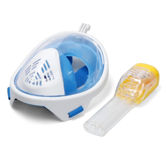 Blue and white full-face snorkel mask and yellow top breathing tube